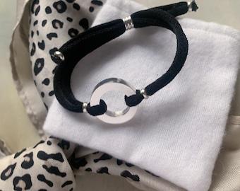 Sterling silver circle bracelet/ black cord/personalized/ RONDANA.