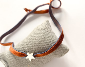 Christmas gift/ Choker with Sterling silver star and stretch velvet ribbon/STELLA.