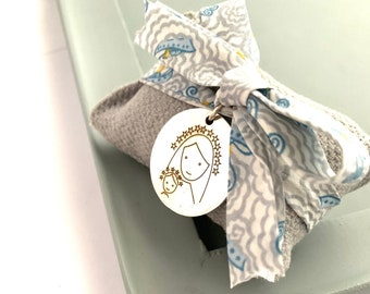 Baptism Gift for baby boy/ Medallion Child Virgin Mary/ Catholic newborn gift.