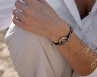 Name bracelet/ Sterling Silver/ stretch cord/ RONDANA.