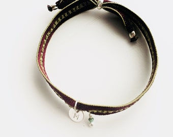 ALMA Hand Stamped Initial Bracelet/ Sterling silver /stretch cord