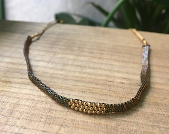 Autumn Choker/ Delica and Vermeil beads/ adjustable/ONORE.