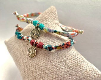 Gift for girl/Our Lady of Pilar and Child little medal/Liberty cord