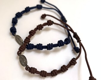 Rosary Bracelet with knots for men/Miraculous Medal / decade/ Catholic jewelry