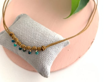 Chrysocolla Necklace/ goldfill/ cord/ FEDERICA.