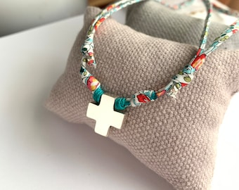 First Communion Girl Gift/Cross Necklace/ Liberty flower cord/ Sterling silver/HOPE.