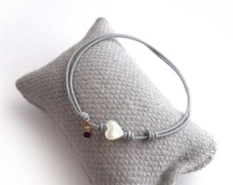 Friendship bracelet/ mother-of-pearl heart/ semiprecious stone/dainty/ANGELICA