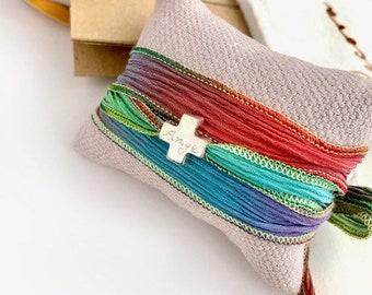 Silk Wrap Sterling Silver Swiss Cross Bracelet/ Confirmation gift for girl
