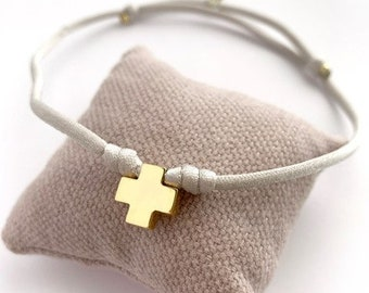 First Communion Necklace CROSS for girl/14k gold/ Liberty tassel/ stretch cord/HOPE.
