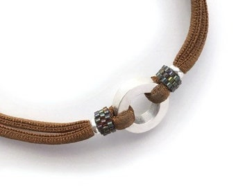 Gift for mother/ Cord Necklace with Delica and Sterling silver circle/personalized/ RONDANA Eternity.