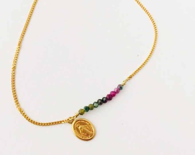 MIRACULOUS MEDAL Bracelet with chain and semiprecious stones