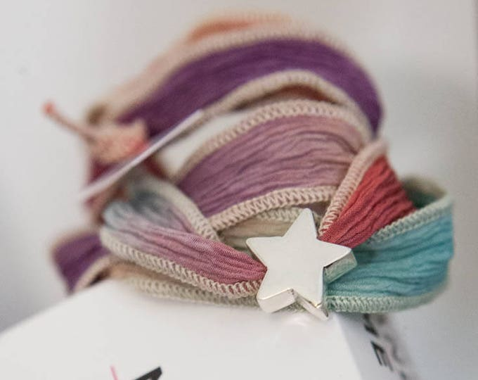 Sterling Silver Star with Silk Ribbon