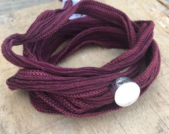 BORN Silk Ribbon Bracelet/Sterling Silver.