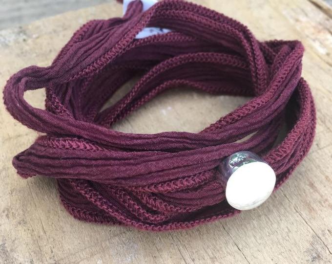 BORN Silk Ribbon Wrap Bracelet/ Sterling Silver/ personalized.