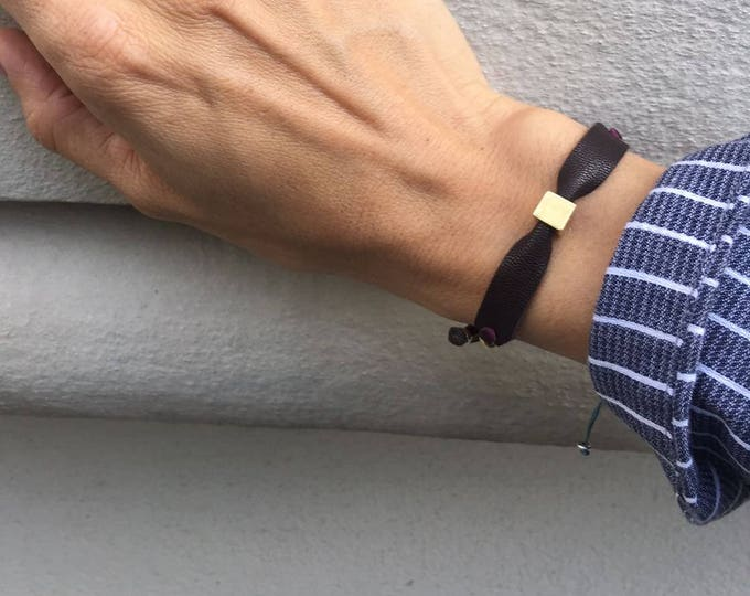 CUBIC Bracelet/Vermeil cube /leather/personalized.