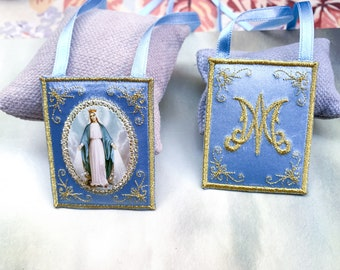 Miraculous medal cloth scapular/wall hanging.