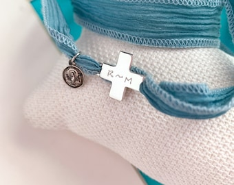 Cross and Medal Bouquet Charm/Sterling silver/ silk strand/ZARAGOZA