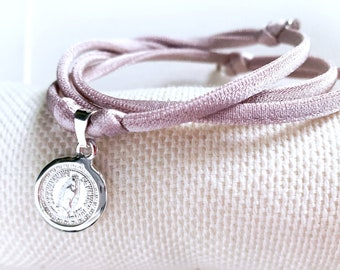 First Communion Girl/ Necklace with Our Lady of Guadalupe Medal/ Sterling silver/ pink cord/ LUPITA.