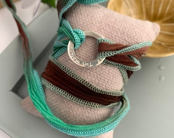 Hammered Sterling silver circle/hand dyed silk ribbon/MARINA Silk.
