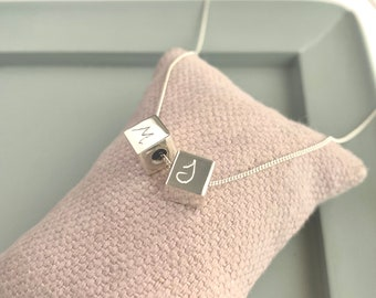 Gift for bridesmaids/ gift for Mother/ Cube Necklace with chain/customized/ Sterling silver/ CUBIC