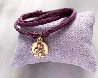 Our Lady of Mount Carmel Scapular Medal Necklace/ gold plated silver/ cord