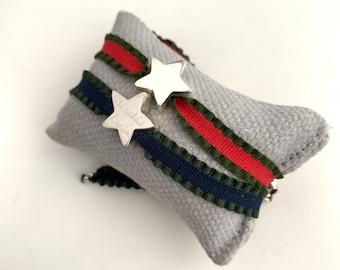 Personalized bracelet/Sterling silver star/ STELLA Red.