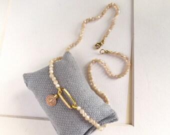 Confirmation gift/ Our Lady of Pilar medal necklace/ pink enamel/nacre/ ROSE