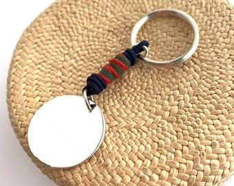 Gift for dad/Sterling silver disc keychain/personalized/ ALEX.