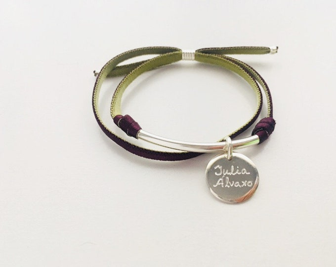 SEI bracelet large/Sterling silver discs/ personalized.