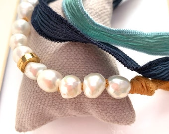 Pearl and Silk necklace/with Vermeil charm/VALLARTA