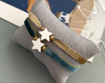 Bracelet with Sterling silver star and stretch velvet ribbon/STELLA.