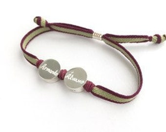 Sterling silver personalized bracelet/ BORN HAPPY.