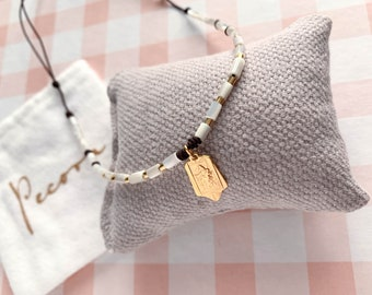 Scapular necklace/ gold/ gold plated nacre tubes/gold fill beads/cord.