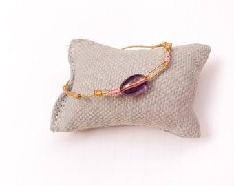 Macrame Bracelet with amethyst/hand stamped/gold filled/VIOLETA