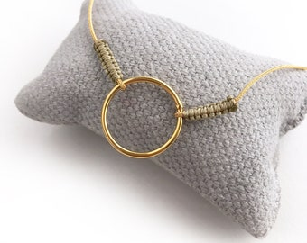 Eternity Hoop Necklace/ CIRCULUS/ Gold plated Sterling silver/ gold cord.