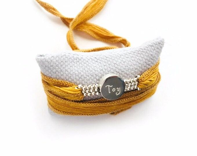 BORN ORBITAE wrap bracelet/ Sterling silver/ silk ribbon.