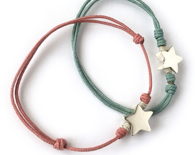 Cord Bracelet STELLA/Sterling silver star/ for girls