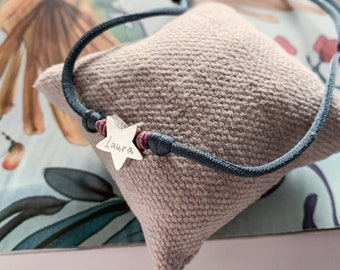 Girl's Necklace/ STELLA Star/ Sterling silver/stretch cord.