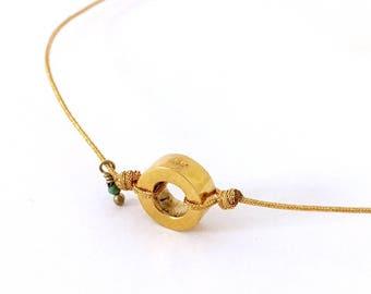 Collar RONDANITA STONE/ Plata o plata de ley con tres micras de oro/ Pequeña turquesa/cordón