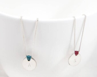 SEI necklace/Sterling silver disc and chain /knot/personalized.