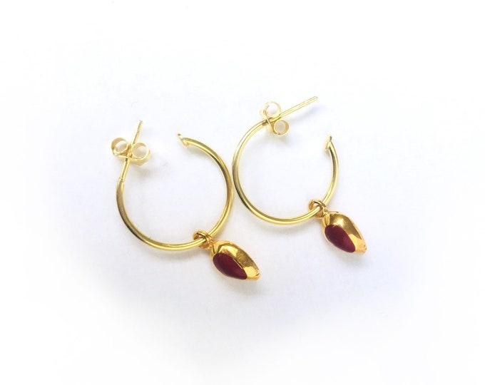 Hoop Earrings with Pendulum/ Sterling silver or Vermeil.