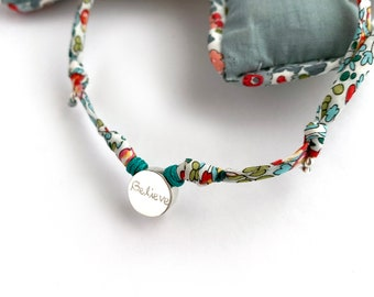 Necklace for girls / Sterling silver circle/ Liberty flower cord/BORN.