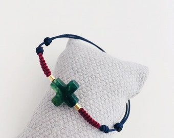 Jade Cross Bracelet with macrame