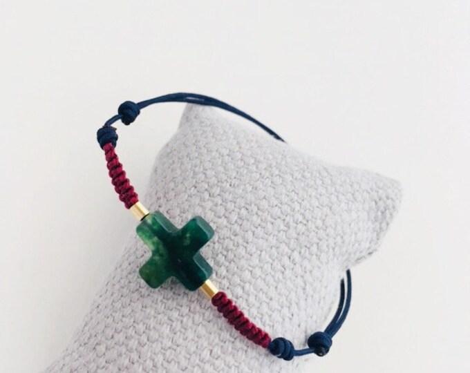 Jade Cross Bracelet with macrame