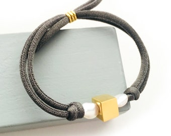 Pearl Cubic Bracelet/ stretch cord/ gold plated Sterling silver.