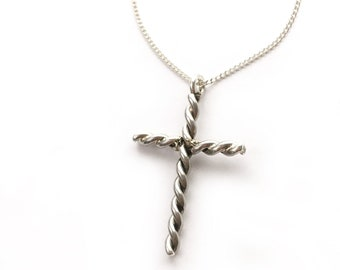 Twisted Sterling Silver Cross with chain/ Confirmation gift.