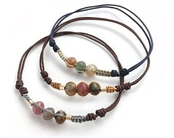 Bracelet STRAWBERRY/tourmalines/ macramé.