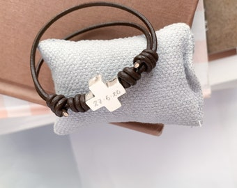 Leather Cord bracelet/Sterling silver cross/ adjustable/personalized.