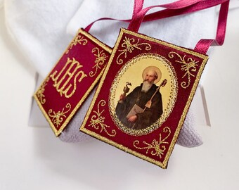 Cloth scapular for the home/Saint Benedict/Patron Saint of Europe.
