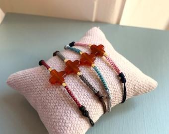 Confirmation gift/ macrame/ carnelian stone/ CARMEL Bracelet